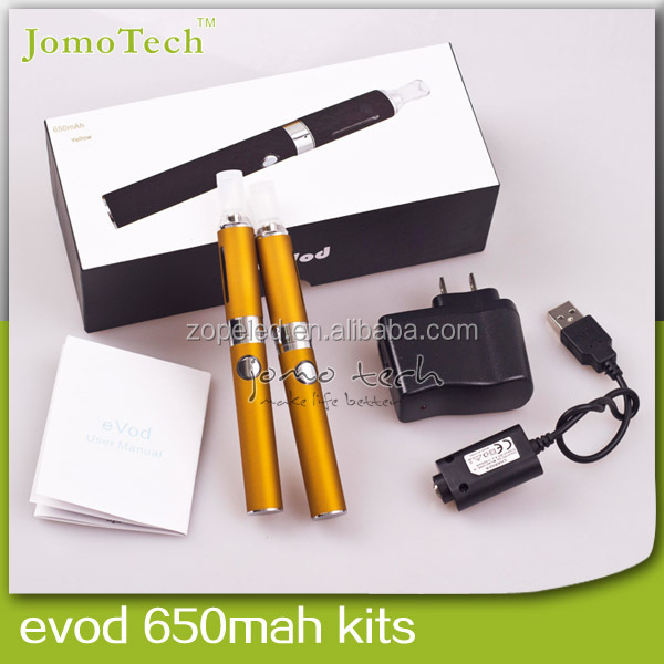 Cheapest electronic cigarette evod vaporizer pen double starter kit ,colored jomo evod mt3 1100MA evod starter kit