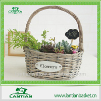 wholesale wicker handle basket with cards/flower basket/decration basket