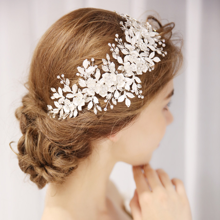 Shimmering Wedding Headpiece Collections Floral with Rhinestone Halo Bridal Hair Vine Women Headbands Jewelry