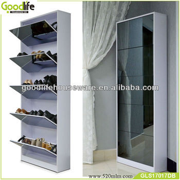 China manufacture wooden shoe rack with dressing mirrow