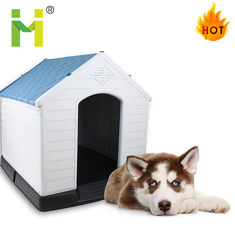 Waterproof heavy duty PP plastic outdoor large dog kennel house roof frame buildings designs factory direct sale for dog