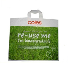 custom biodegradable&compostable patch handle plastic carrier merchandise shopping bag made from corn starch