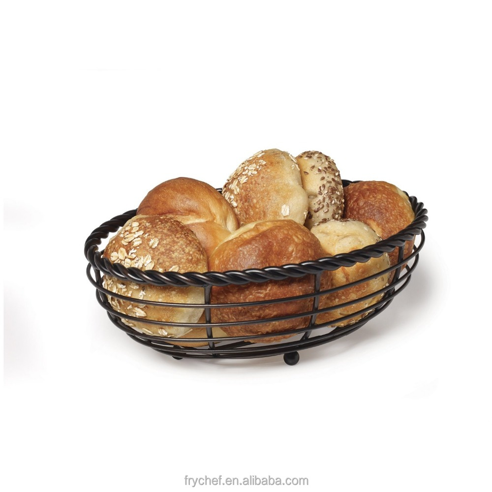 Restaurant Serving Metal Rope Oval Bread Basket, Antique Black