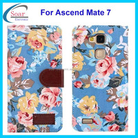 Colorful flower cowboy leather case for Huawei Ascend Mate 7,wallet stand case for Huawei Ascend Mate 7 with card slots