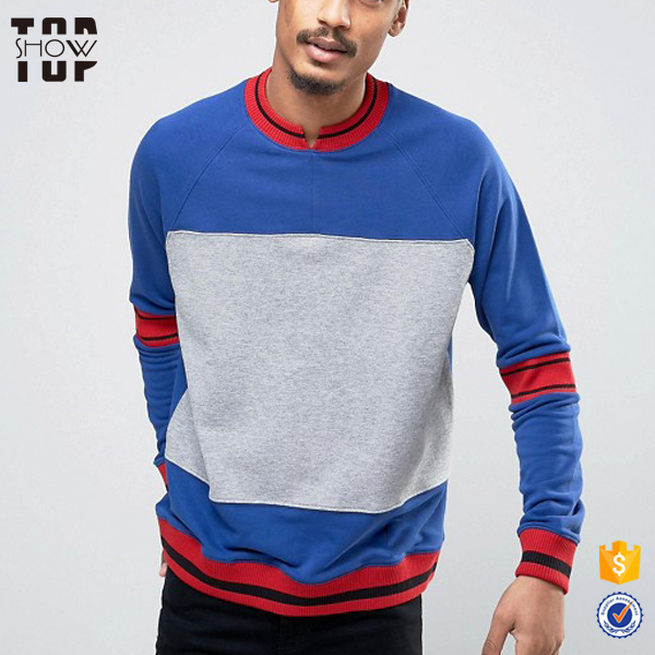 Clothes for men notch neck multi color hoodie with different colored sleeves