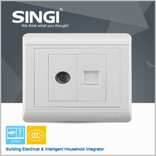 Famous brand new design hot one gang TV and one gang telephone socket electrical safety wall socket for your house wall socket