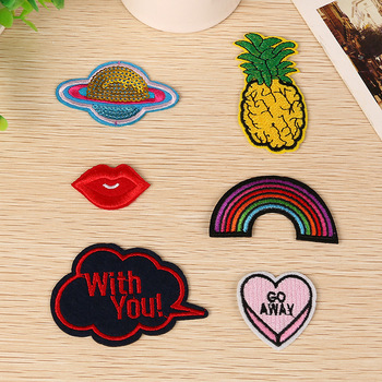Pineapple style embroidery & sequins patch for garments decoration can accept customized
