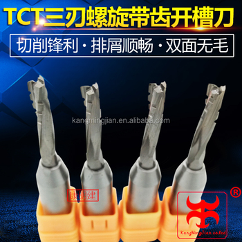 CNC three-flute spiral toothed TCT router bit for hardwood and MDF