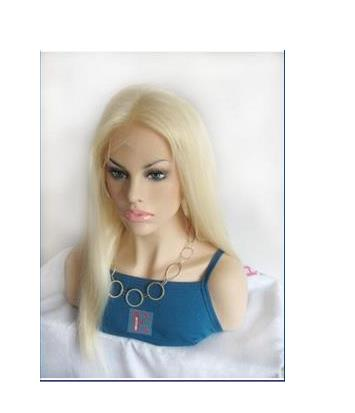 14 Inch Silky Straight Full Lace Bright Blonde Wig