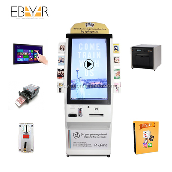 Top quality Coin Acceptor Self-service Photo Vending Machine/ QR Code Vending Photo Printer Booth/Interactive Screen kiosk