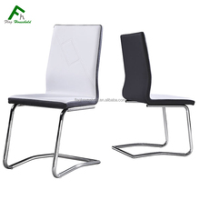 Low Price Modern Comfortable Living Room Chromed Leg PU Dining Chair