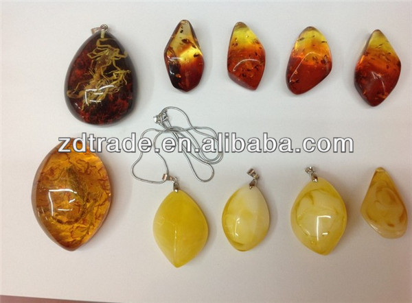Retro Imitation Amber Stone Charm beads for Jewelry making