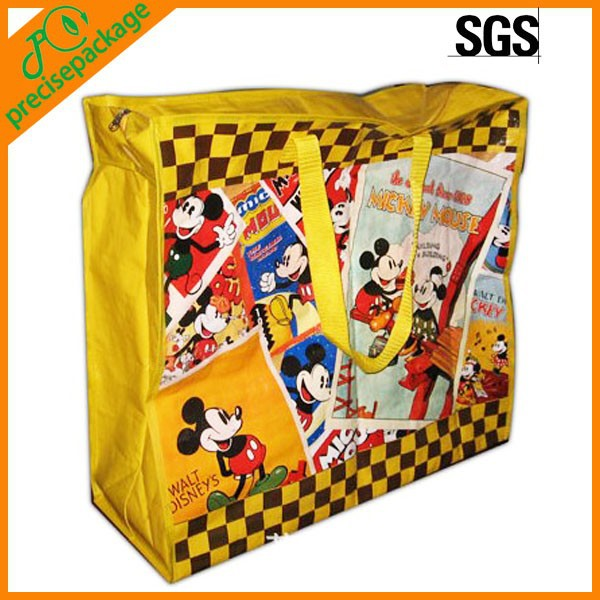 Eco-friendly pp woven reusable zipper shopping bag with full printing