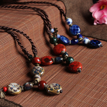 bule and red Cheap Couple Hand Painted Pendant Necklace