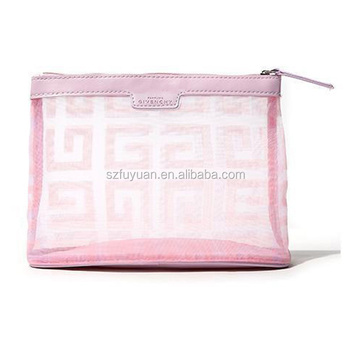 Custom branded mesh cosmetic bag for lady with waterproof inner