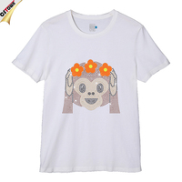 Monkey Design Wholesale Popular Custom Rhinestone Design Cotton T Shirt