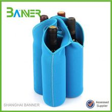 Promotional Cheap Neoprene Reusable 4 Wine Bottle Tote Bag