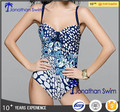 Western sexy backless print nylon spandex one piece swimwear.