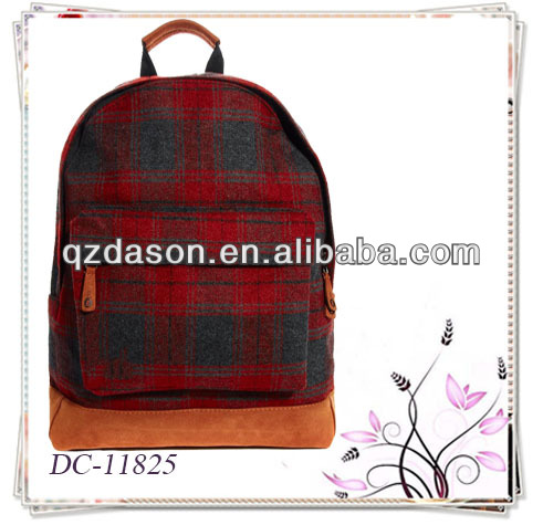 Plaid backpack outdoor backpack fashionable back pack bag