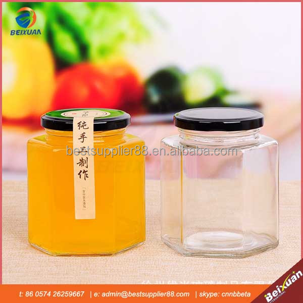 280 ml Hexagonal Honey Glass Jar With Lid