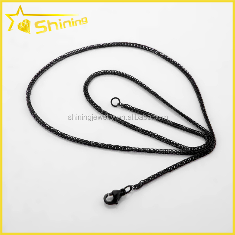 Guangzhou jewelry factory direct sell long stainless steel with black gun necklace chain joyeria
