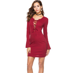 Hot sale long flare sleeve fitted bandage cross women sexy dress