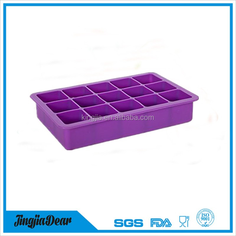 Tovolo perfect ice cube tray,15 King cube 15 cavity Jumbo ice cube trays,100% food grade silicone ice tray