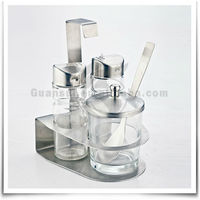 Home Decoration Stainless Steel Glass Bottle Salt And Pepper Shaker With Sugar Pot