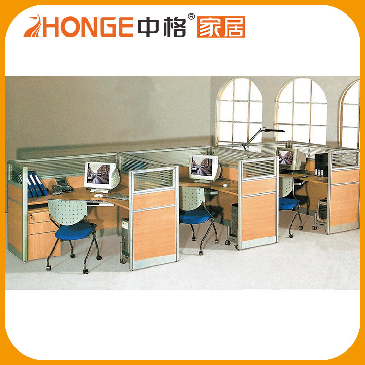 Glass Screen Aluminum Profile 3 Person Tables Workstation Partitions