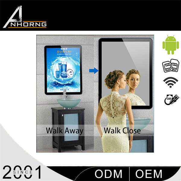 high brightness wall mounted waterproof touch screen mirror for advertising with CDS sotware