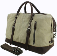 Vintage Men leather canvas Travel Bag tote Luggage Duffle Bag