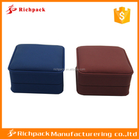 Wholesale Luxury Blue And Red PU Plastic Small Ring And Earring Box,Leather Jewelry Box