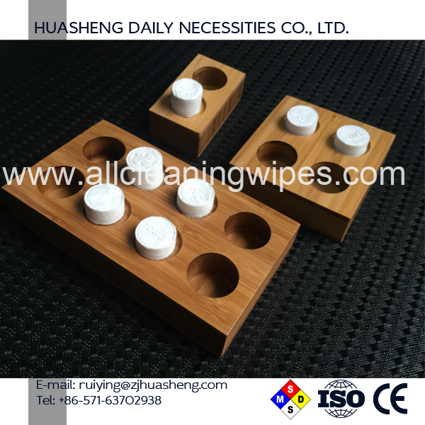 Professional manufacture cheap compressed towels trays bamboo and resin Holder