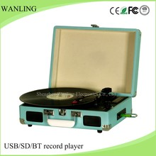2017 Portable suitcase wooden turntable old record player with USB recording