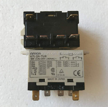 omron relay g7l-2a-tub 200~240vac 25a 6p thermal