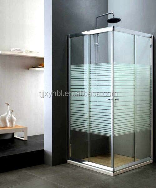 Htsr-be266g Tempered Glass With Marble Base Aluminium Alloy Frame D Shaped Shower Enclosure