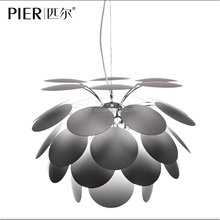 Zhongshan lighting factory wholesale gray glass round metal pendant chandeliers lamp