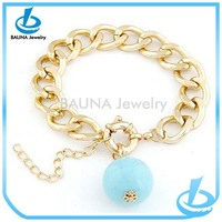 Simple design gold chain bracelet blue ball pendant bracelet