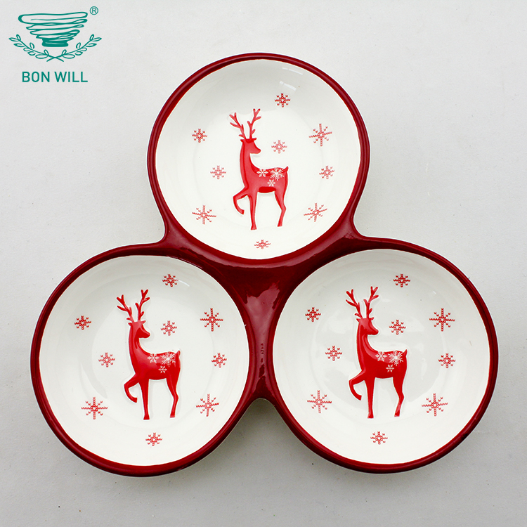 Factory wholesale custom design colored dinner set cheap white 3 divided ceramic rice bowl