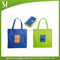 Cheap 190T Polyester fold shopping tote bag with foldable pouch