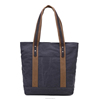 China Supplier Cotton Canva Tote Bag with Leather Handle for Women
