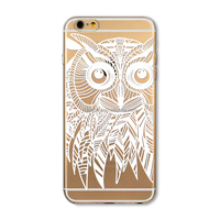 Phone Case for iPhone 5 5S Transparent White Owl painting PC Hard cover