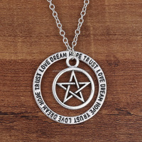 Family Gifts Love Dream Hope Trust Words Pentagon Pendant Necklace