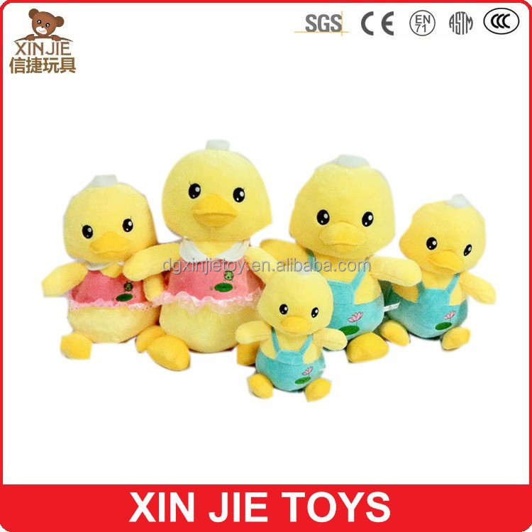 lovely and cute plush little yellow duck toy with silk ribbon for kids