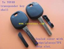 new uncut TOY48 transponder key blank for to (Sealed cover with wedge/glassy/TPX chip slot)