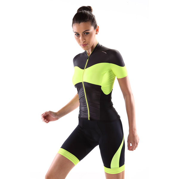 New arrival yellow-flour fitness&sweat women short sleeve cycling/biking/sportswear with thermal print shorts in high quality