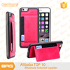 Newly launch Fashion Pink Leather Case for iPhone 6s cover With Credit Card Slot,shockproof cover for iphone 6 case with Stand