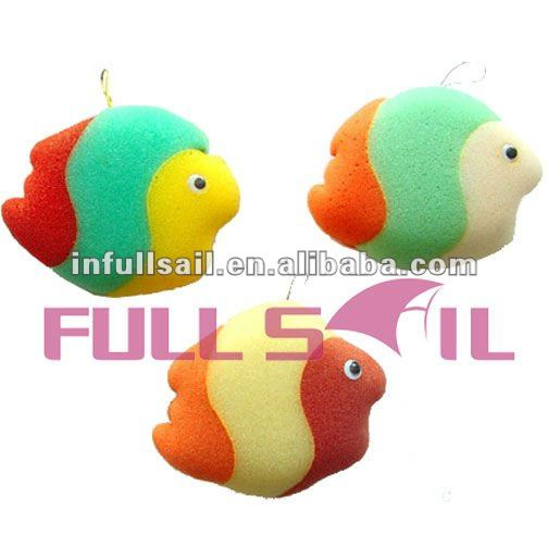 Three Color Nice Fish Shape Sponge Type Bath Toy for Baby