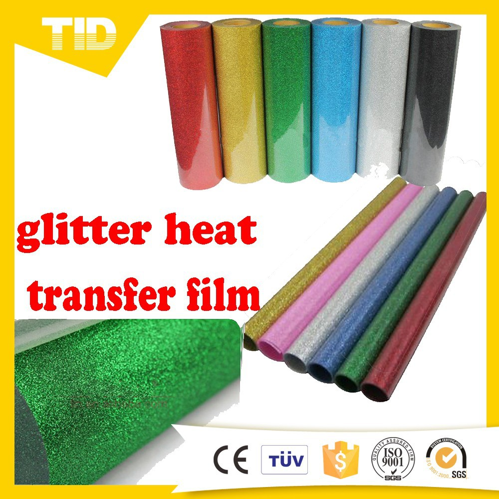 Heat transfer iron on t shirt glitter vinyl film fabric embellishment hot fix