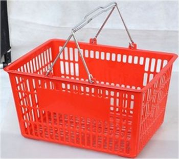 supermarket colorful hand held shopping basket for sale 20L with size 390*295*210mm